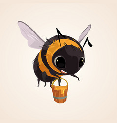 Happy smiling flying bee character mascot vector