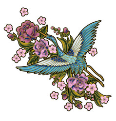 japanese blue cranes with pink flowers elements vector image vector image