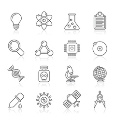 Line education and science icons vector