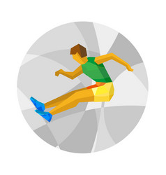 Long jumping athlete with abstract patterns vector