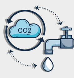 nice cycle of water with cloud and faucet vector image