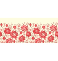 Red poppy flowers horizontal seamless pattern vector image vector image