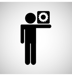silhouette man icon work social network vector image