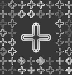 Silver line cross logo design set vector