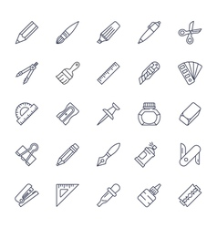 Stationery tools icon set thin line style vector image vector image