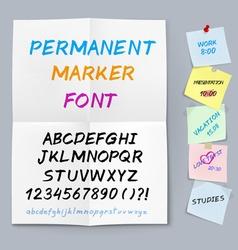 Sticker paper permanent marker font vector image vector image
