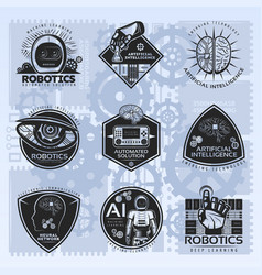 Vintage artificial intelligence emblems set vector