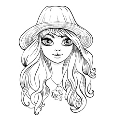 beautiful fashion girl in hat vector image