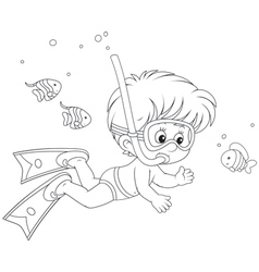 Little diver vector