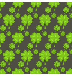 St patrick day green clover seamless pattern vector