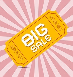 Orange big sale paper ticket on pink background vector
