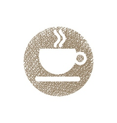 Cup of coffee icon with hand drawn lines texture vector