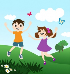 Kids playing outdoors vector