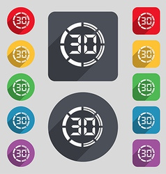 30 second stopwatch icon sign a set of 12 colored vector