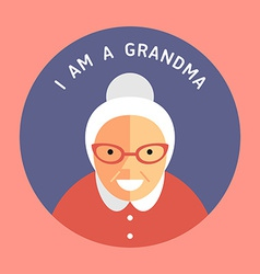 Portrait of grandmother flat design icon with text vector