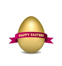 Easter golden egg with red ribbon isolated on vector