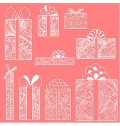White gift boxes set on pink background vector