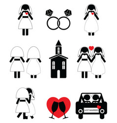 Gay woman wedding 2 icons set vector