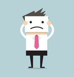 Businessman hide his real face by holding bad mood vector