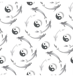 Seamless pattern with a fish and yin-yang vector