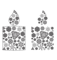Candle Made of Snowflakes2 vector image