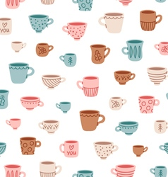 Cute mugs pattern vector