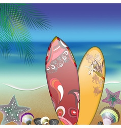 Surfboard and seashells by the beach design vector