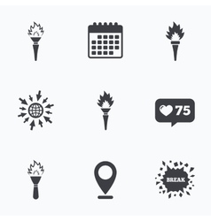 Torch flame icons fire flaming symbols vector