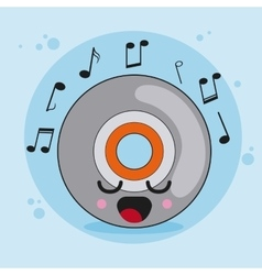 Cd icon kawaii and technology graphic vector