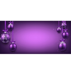 Abstract banner with purple christmas balls vector image vector image
