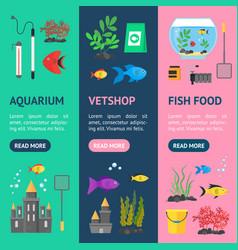 aquarium banner vecrtical set vector image vector image