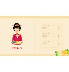 beautiful Asian girl enjoy sushi card vector image vector image
