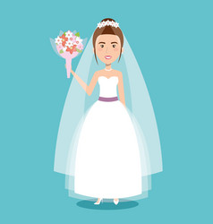 Beautiful bride in a wedding dress and bouquet vector