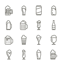 Beer glassware thin line icons vector image