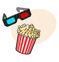 cinema objects - popcorn and 3d stereoscopic vector image vector image