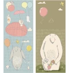 cute polar bear hares and girl vector image vector image