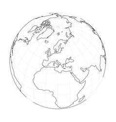 Earth globe wireframe focused on europe vector