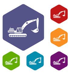 Excavator icons set vector