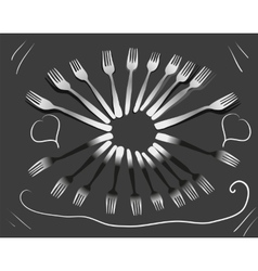 Fork sign tableware patterns black white banner vector