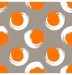 Grunge orange and white circles on white coffee vector image