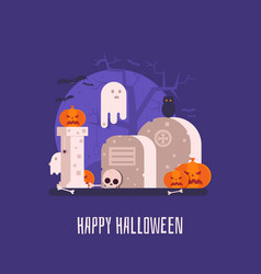 haunted graveyard halloween card vector image vector image