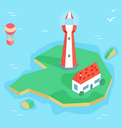 Isometric lighthouse with house on the island vector