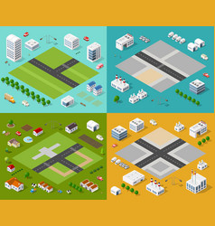 Isometric set 3d city vector