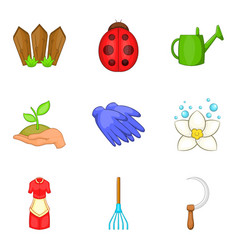 Leaf spring icons set cartoon style vector