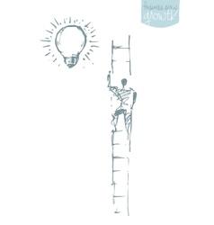 Man climbing successful career concept vector