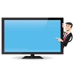 man pointing flat screen tv vector image