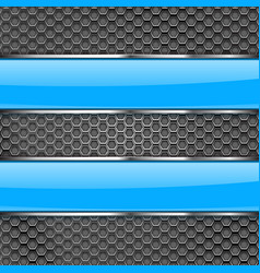 metal perforated background with blue glass plates vector image vector image
