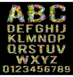 Multicolored geometric polygonal broken alphabet vector