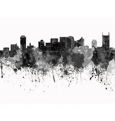 Nashville skyline in black watercolor on white vector