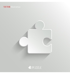 Puzzle icon - white app button vector image vector image